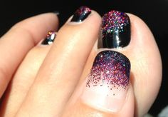 Black polish with red, purple and silver glitter and black tip fade with same glitter on hands...Love True Nails Nanikuli! They are the best!