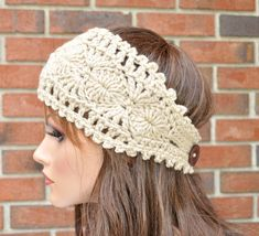 Crochet Ear Warmer, Handmade acessorio Womens Crochet Headband na cor do laço. Style.1