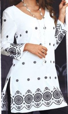 Haas Fashion  Floral Embroidery Work Ladies Blouse Tunic Top Kurta Kurti