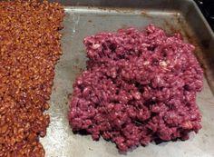 Pour Rice Krispie Treat mixture onto a cookie sheet