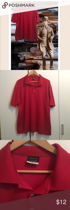 """Red Nike Golf Shirt Red Nike Golf Shirt. Excellent condition! Dri-Fit polyester. Ribbed collar. Three button placket. Right sleeve is embroidered with Dell/Symantec logo. Chest 48"""", length 39"""". Nike Shirts Polos"""