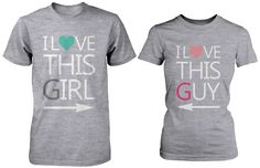 I Love This Girl & Guy Matching Couple Shirts in Grey (Set)
