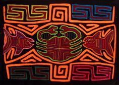 Kuna Indian Hand-Stitch Fish and Crab Mola Art-Panama 16041224L