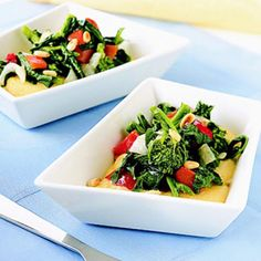 Slightly bitter, crisp-tender broccoli rabe in this recipe tastes superb when mixed with roasted sweet peppers and served over creamy polenta. If you can't find broccoli rabe, use broccoli flowerets or broccolini.
