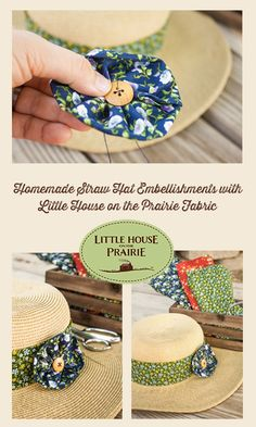 With just a few supplies, including the great new Little House on the Prairie fabric line from Andover Fabrics, and a little bit of extra time, anyone can add some fun to their functional straw hat!