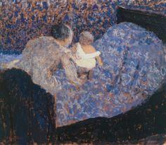 Grand-mère et enfant au lit bleu, 1899 - Edouard Vuillard (French,1868-1940)