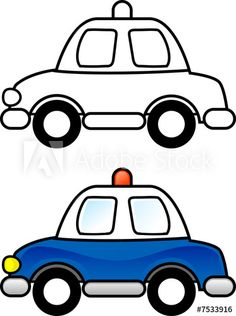 Match Up Coloring Pages – Police Car Cars Coloring Pages, Coloring Pages To Print, Printable Coloring Pages, Coloring Pages For Kids, Coloring Books, Kids Police Car, Police Cars, Drawing Lessons For Kids, Easy Drawings For Kids