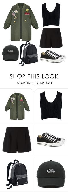 """simple army oversize"" by saldwftr ❤ liked on Polyvore featuring WithChic, Sans Souci, Boutique Moschino, Converse, NIKE and Vans"