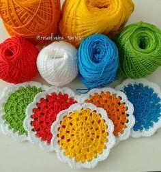 Tecendo Artes em Crochet: Kit Colorido de Porta Copos e Jarra!