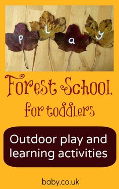 I will be spending more time outdoors this year Forest school for toddlers - love these ideas for outdoor maths, literacy and art. Forest School Activities, Nature Activities, Learning Activities, Preschool Activities, Outdoor Activities, Outdoor Education, Outdoor Learning, Outdoor Play, Outdoor School