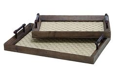 Wood and woven captains quarters trays
