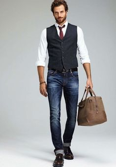 Mac Jeans - Fall business casual with a navy vest maroon tie.- Mac Jeans – F. - Mac Jeans – Fall business casual with a navy vest maroon tie…- Mac Jeans – Fall business casua - Casual Jeans, Men Casual, Casual Fall, Casual Menswear, Casual Blazer, Casual Shirts, Fashion Mode, Fashion Outfits, Fashion Sites