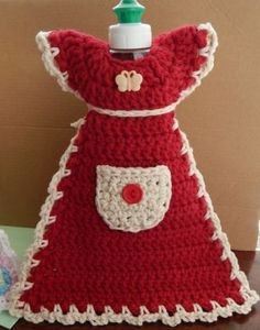 New Apron Dress Dish Soap Cover Kitchen Bath Decor Crochet Knit Handmade Gift | eBay