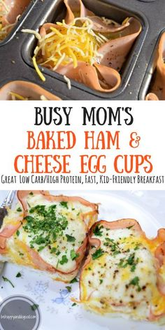 Busy Mom's Baked Ham & Cheese Egg Cups: Perfect for Weekday Breakfasts!--An easy, protein-filled breakfast that can be made ahead and reheated in seconds.