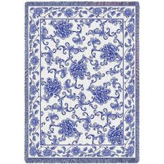 The scrollwork and flowers make this throw elegant and regal. The nice blue and natural color would make a lovely addition to anyone's home.