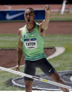 Ashton Eaton celebrates after a successful pole vault during the U.S. Olympic trials decathlon