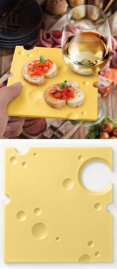 Swiss cheese party plate - has a hole to hold your wine! #product_design