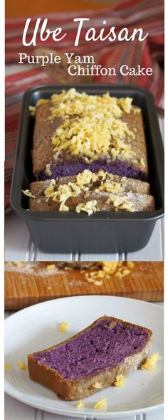 Ube Taisan (Ube Cake with Shredded Cheese and Sugar) – Woman Scribbles Ube Taisan is a plain and simple version of an ube cake but it is definitely a delightful treat on its own. Topped with grated cheese and sugar, every slice of this is heaven! Filipino Desserts, Asian Desserts, Filipino Recipes, Delicious Desserts, Dessert Recipes, Yummy Food, Filipino Food, Filipino Dishes, Kitchen