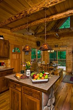 Pella ProLine windows frame the breathtaking view from this log kitchen. I like the pendent lights Cabin Homes, Log Homes, Hocking Hills Cabins, Log Home Kitchens, Open Concept Kitchen, Rustic Design, Rustic Decor, Rustic Kitchen, Kitchen Ideas