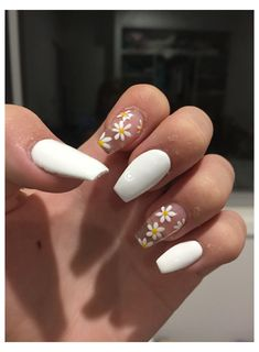 Acrylic Nails Coffin Short, Simple Acrylic Nails, Best Acrylic Nails, Acrylic Nail Designs, Acrylic Nails Pastel, Coffin Nails, Stylish Nails, Trendy Nails, White Gel Nails
