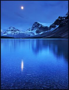 ✯ Nightfall at Bow Lake - Alberta, Canada. One of the most beautiful places I've ever been.