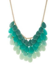 This Blue & Gold Ombré Pailette Statement Necklace is perfect! #zulilyfinds