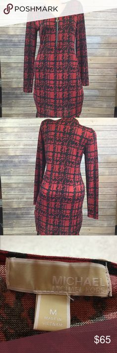Michael Khors red & black long sleeve dress Size M dress from MK. Semi see thru. Great condition. Silver zip neckline. Open to offers or bundle with any other item to save instantly! Michael Kors Dresses Mini