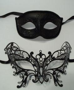 Butterfly Black Couples Man Woman Masquerade Mardi Gras Masks Male Female metal…