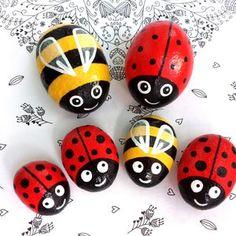 Bee Rocks, Ladybug Rocks, Ladybug Art, Ladybug Rock Painting, Ladybug Decor, Ladybug Crafts, Stone Art Painting, Pebble Painting, Pebble Art