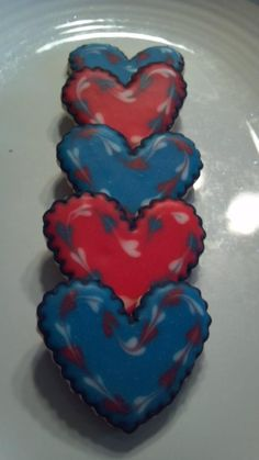 Red, white, and blue heart cookies Give Me Five, Give It To Me, Blue Hearts, Raggedy Ann And Andy, Heart Cookies, Just Giving, Cake, Amazing, Party