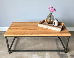 Reclaimed Wood Coffee Table With Box Steel Frame Base - IN STOCK!