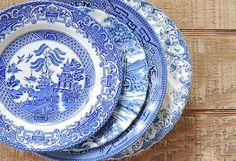 Mismatched Blue White Transferware Plates Set by RosebudsOriginals
