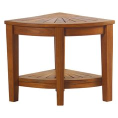 Aqua Teak Spa Teak Corner Shower Stool with Shelf & Reviews | Wayfair