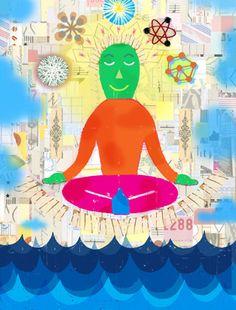 Noah Woods / Illustration for John Hopkins University on the subject of happiness / mixed media / noahwoods.com