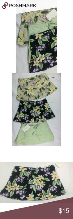 """Miniskirt Bundle Three miniskirts in cotton and linen blends. Perfect as a backup at the pool or beach, or as a flirty layer to your spring outfit.  New with tags, never worn.  Both floral skirts are 55% cotton, 45% rayon. The sea green skirt is 55% linen, 45% rayon. Skirts range from 11-12"""" in length. Drawstring waists, true to size. Skirts Mini"""