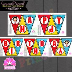 Wonder Woman superhero inspired Happy Birthday banner, printable digital pdf files ready for instant download.    Printable set.  Nothing but
