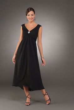 340ccda6c25 Charming Black Chiffon A-Line V-Neck Wide Straps Natural Waist Beading In  The Middle Tea Length Mother Of The Bride Dresses
