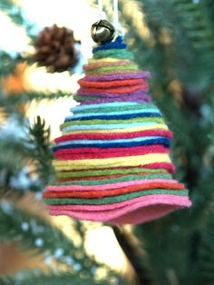 Colorful Felt Christmas Tree Ornament   If you have a lot of felt in the house, then you'll definitely want to save it for these Christmas crafts for kids.