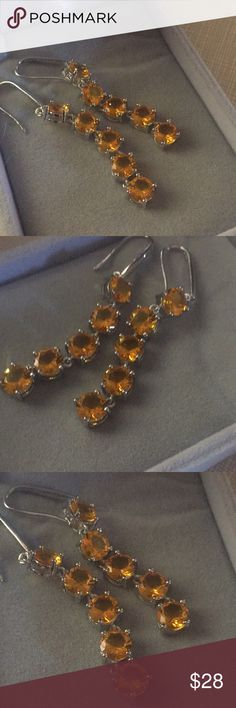 """Beautiful Golden yellow quartz party earrings Artisan handcrafted silver stamped 925 beautifully handmade stylish design elegant inlay shepherds hook approximately  2""""3/4 long Nwot Jewelry Earrings"""
