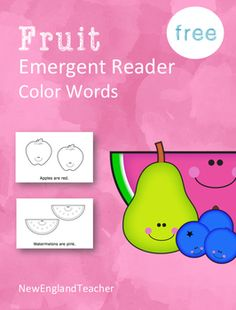 FREE color words printable fruit themed emergent reader. Very simple sentences each with a fruit and its color name. Preschool and Kindergarten. Great for reading groups or centers.