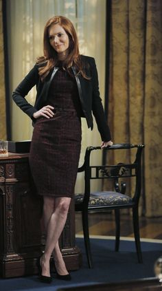 """MaxMara"" Bordeaux Spotted Dress - worn by Abby Whelan (Darby Stanchfield) on Scandal, season 4."