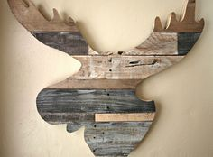 Decoration: Reclaimed Wood Moose Head Silhouette Decoration At Winter Lodge Decor Gets A Modern Facelift By Stephanie Of Simply Swider: Fascinating Reclaimed Wood Decoration in the Beautiful Design