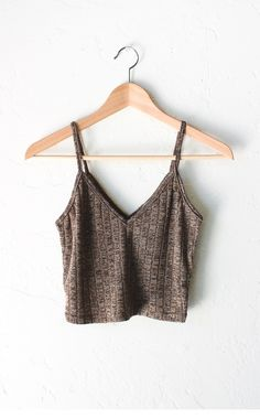 Knit V-neck Cami Crop Top - Taupe Winter Outfits For School, Summer Outfits, Casual Outfits, Cute Outfits, Fashion Outfits, Going Out Crop Tops, Cute Crop Tops, Cami Crop Top, Trends