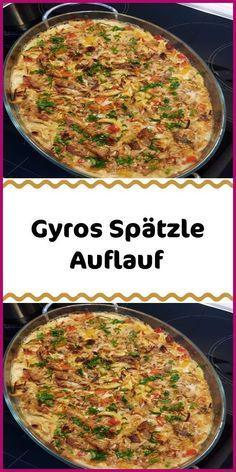 Gyros-Spätzle Auflauf - Hnaumann Sausage Recipes, Meat Recipes, Crockpot Recipes, Chicken Recipes, Crockpot Meat, Recipes Dinner, Gyro Meat, Burger Meat, Bbq Meat