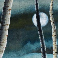 Full moon and birch trees acrylic painting on paper The Moon is bright @ SeasideStudiosUK on Etsy