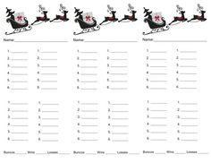 Christmas Bunco Score Sheets Free  Google Search  Party Ideas
