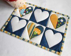 Half-Hearted Mug Rug - pattern available through Craftsy