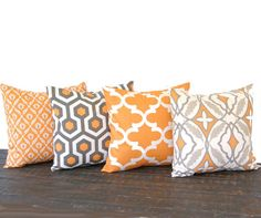 "Throw pillow covers 20"" x 20"" Set Of Four pumkin orange natural ivory gray taupe cushion cover pillow shams on Etsy, $76.00"