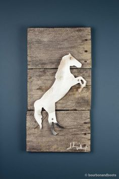 Horse Raring Reclaimed Wood & Shaped Metal Art $85