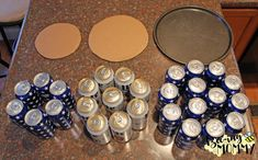 Beer Can Cake Tutorial - 30 beers, pizza pan, cardboard and decorations